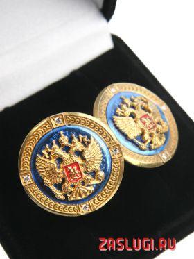 Серебряные запонки «Герб России»_10045